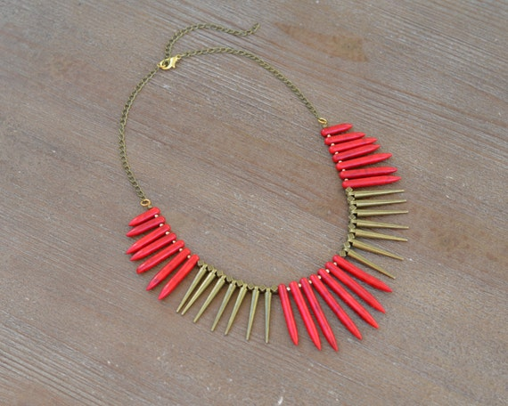Red Turquoise Spike Necklace - Red Bead Statement Necklace - Red Stone Necklace - Chunky Red Bib Necklace