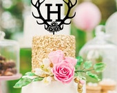 Antlers and Flowers Monogram Wedding Cake Topper with YOUR Initial - Bridal Shower Topper