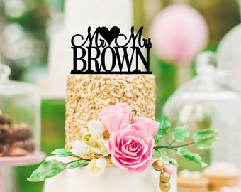 Personalized Mr and Mrs Wedding Cake Topper with YOUR Last Name - 0127