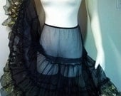 Totally SHEER Blue Crinoline Petticoat - RARE Horsehair Nylon + Floral Embroidery-Swing-Rockabilly-Colony Club
