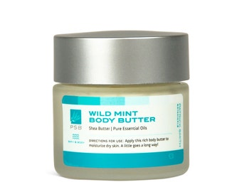 Wild Mint Body Butter - Shea Butter & Coconut Oil - 1.7 oz. Organic Ingredients. Cruelty-Free Skincare, certified by Leaping Bunny.