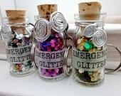 EMERGENCY Glitter Bottle Keychain