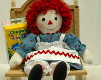 Raggedy Ann doll, handmade, 10 inch Rag doll
