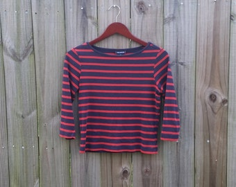 M Medium Vintage 90s Red Blue Grunge Revival Alternative Preppy Striped Indie Hipster 100% Cotton The Limited T-shirt Shirt Blouse Top