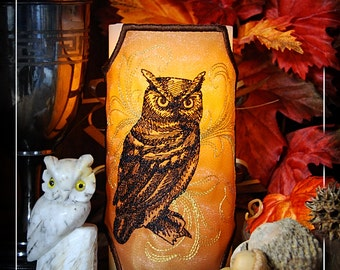 "Bewitching Baroque Owl ""Stitched to Order"" Embroidered Candle Wrap For LED Flameless Pillar Candles."