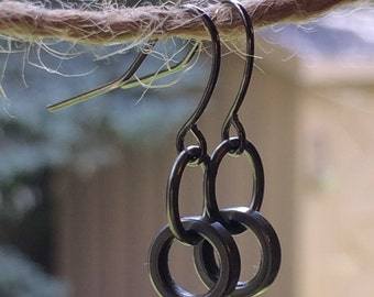 Bicycle Earrings, Recycled Bike Parts,