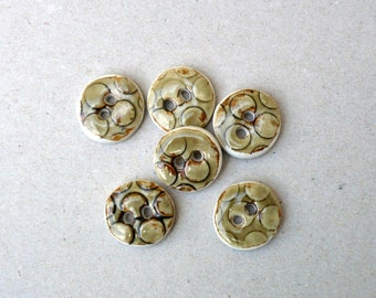 Olive Ceramic Buttons,  Porcelain Buttons ,  Dots Pattern ,  Sewing Buttons.