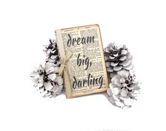 Inspirational Notebook, Motivational Journal, Dream Big Diary, Vintage Pocketbook, Gold, Journal Insert, Quote Jotter, Stocking Stuffer