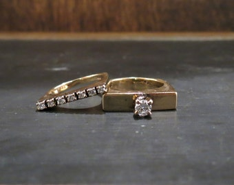 Vintage Engagement Ring, Modernist Diamond Wedding Set in 14k c. 1970 (2 Rings) size 4, Vintage Wedding Band, Diamond Wedding Set