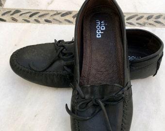 Black Leather Women Loafers, Genuine Leather Moccasins, Vintage 100% Leather Shoes, Womens Shoes Size 6.5, Oxford Classic Footware