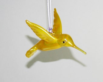 Hand Blown Glass Hummingbird Ornament/Suncatcher - Sunshine Yellow