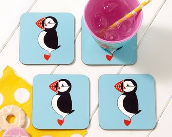 Mr Puffin Coaster - Drinks Coaster - Animal Coaster