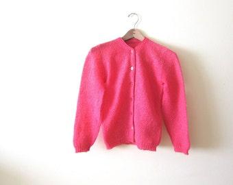Pink Cardigan / 60s Knit Cardigan / Womens Knit Sweater