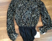 SALE / Eighties Blouse / Eighties Bodysuit / Eighties Fashion / Metallic Shirt