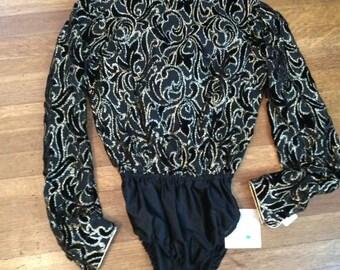 Eighties Blouse / Eighties Bodysuit / Eighties Fashion / Metallic Shirt