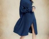 Wool Dress in Blue, Red and Grey, Sweater Dress, Winter Dress, High collar Dress, Oversize Tunic Dress, Longsleeve Dress, Asymmetrical Dress