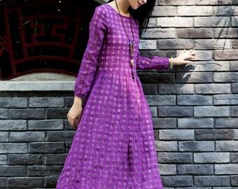Purple linen dress, maxi dress in purple, hollow dress, high waisted dress, longsleeve winter dress, double layered dress, evening dress