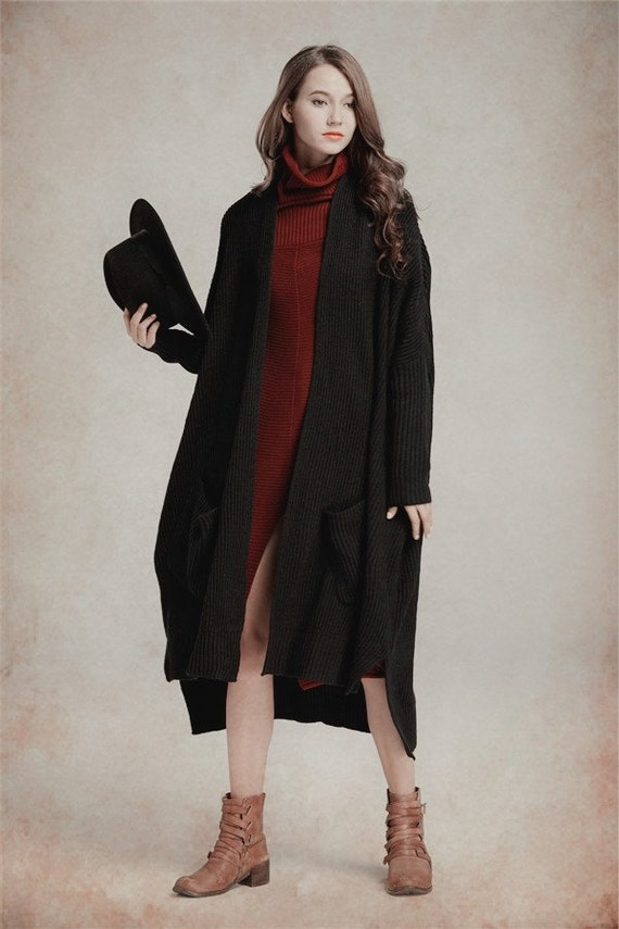 Black Wool Coat with oversized pockets, Sweater Coat, Winter Coat, Oversized Coat Jacket, Winter Outwear Camelliatune