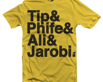 Adult Tribe Names Tee Shirt by Hatch For Kids - A Tribe Called Quest T-Shirt Hip Hop Rap New York NY Brooklyn Phife Tip - Size XS S M L XL