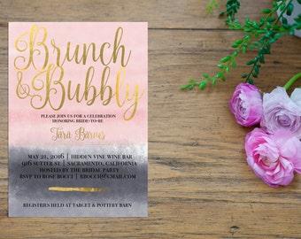 Brunch & Bubbly Invitation - Bridal Shower - Printable