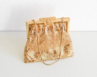 Gold mesh bag, vintage clutch, gold vintage bag, party bag, bridal bag, wedding bag