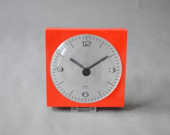 Vintage wall clock West German Krups red lipstick red poppy kitchen red aluminum Mid-Century 60s 70s