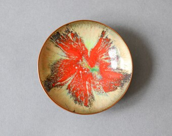 Vintage enamel ring dish ring plate jewelry dish East German GDR business card plate