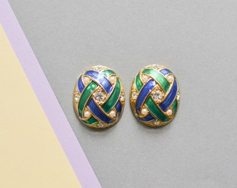 Vintage gold golden green blue pearls earrings fashion 80s 90s jewelry costume gold