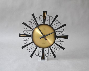 Brass starburst clock, sunburst clock, Arctos clock, West German clock