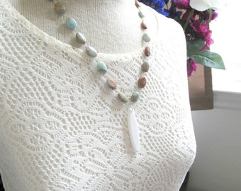 Silver Tribal Necklace - Jasper Gemstone White Pendant Necklace - Tribaled