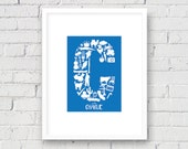 Letter C, Initial Alphabet Wall Art, Learning Shapes, Baby/Nursery/Kid's Room, Personalize Child's Name Decor
