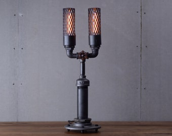 Industrial Table Lamp - Edison Bulb Lamp - Table Lamp - Industrial Lighting - Bulb Cage - Steampunk