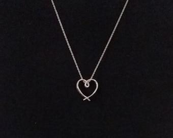 Sterling Silver Heart Necklace w/ Inscription
