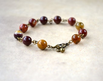 Mookaite Bracelet, Fall Jewelry, Earth Tones Mookite Jasper Bracelet, Autumn Colors Rustic Bracelet, Natural Stone Bracelet, Brown Bracelet