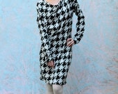 Asymmetric houndstooth dress in black and white