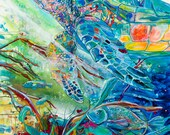 Turtle Journey-Art by Jen Callahan Tile,Cuttingboard,Paper Print