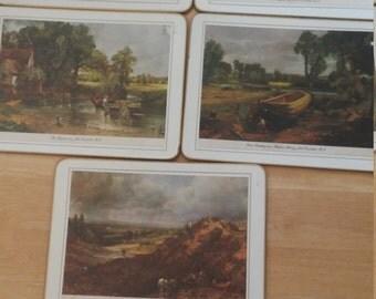 5 vintage cloverleaf john constable RA cork placemats united kingdom england