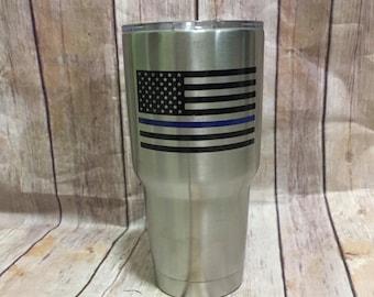 Blue lives matter flag, police officer, American flag, blue line flag, Ozark  tumbler, police wife, fireman cup, fireman wife cup