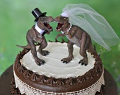 Dinosaur T-Rex wedding cake topper bride and groom dinosaurs Jurassic Park themed cake dinosaur lover unique lizard prehistoric creature