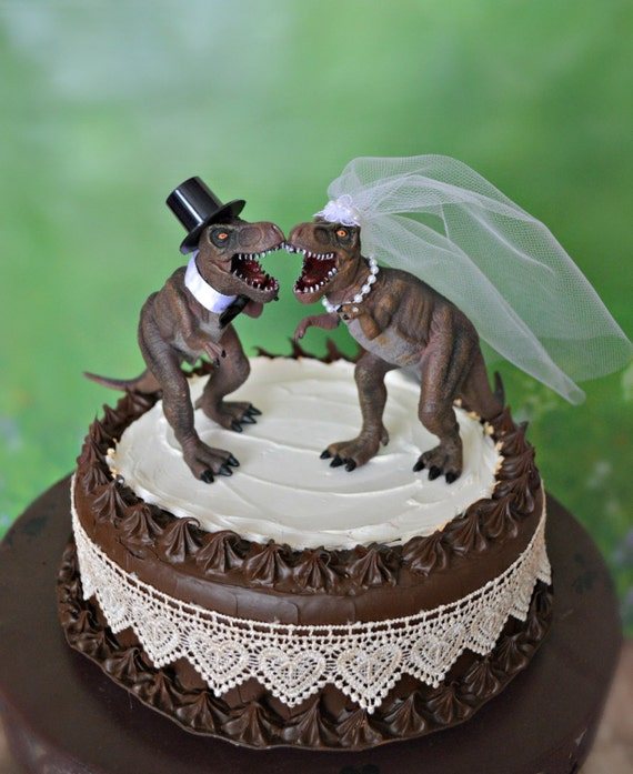 dinosaur wedding cake dinosaur t rex wedding cake topper and groom dinosaurs 13530