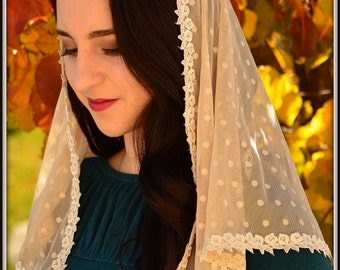 Chapel Veil Mantilla -- Sheer Dot in Soft Champagne Net with Venice Lace Trim- LM18