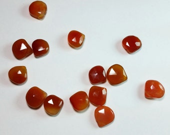 Orange Fire Agate Chalcedony Faceted Briolette Beads 11mm - 12mm