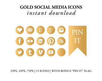 Gold Social Media Icons // Instant Download