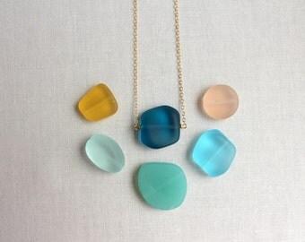 Beach Glass Necklace, Sea Glass Necklace, Frosted Glass Necklace, Gold Necklace, Glass Nugget Necklace, Gold Beach Glass Necklace