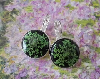 Earrings real flowers pressed flowers Wearable plant dangles Emerald green Botanical Sterling silver earring nature jewelry Gardening gift
