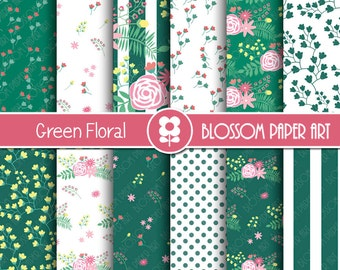 Green Floral Digital Paper Pack, Green Floral Digital Scrapbook - Digital Backgrounds, Floral Digital Paper - INSTANT DOWNLOAD - 1977