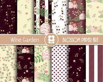 Wine Digital Paper, Floral Digital Paper Pack, Wedding Floral Scrapbooking, Wine Floral Digital Paper - 1979