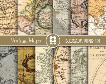 Maps Digital Paper, Maps Digital Paper Pack Old Maps Vintage Scrapbooking - INSTANT DOWNLOAD - 1978