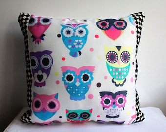 Owl Pillow Cover, Animal Pillow Cover, Colorful Owls Pillow Case, Home Decor