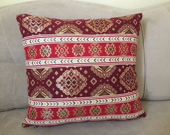 Kilim Pillow Case, Traditional Turkish Kilim Pillow Cover, Red Kilim Pillow Case, Patchwork Pillow Case, Ethnic Kilim Pillow, Home Decor